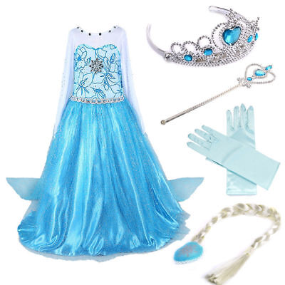 Disney Elsa Frozen Princess Anna Dress Kid Girl Costume Party Xmas Cosplay Crown