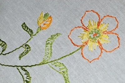 Blustery Wildflower Bouquets! Vintage Spring Hand Embroidered German Tablecloth