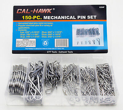 150 PC MECHANICAL HITCH HAIR R Cotter PIN TRACTOR CLIP ASSORTMENT with Case