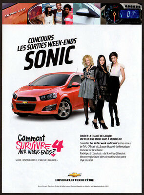 2012 CHEVROLET Sonic Original Print AD - Red car photo French Canada WE contest