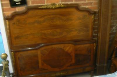 Stunning Antique French Mahogany Inlaid & Ormolu Large Double Bed