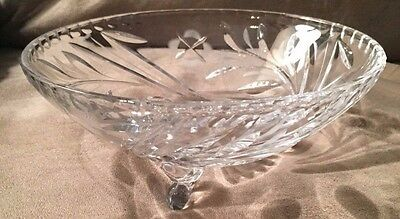 **Mint**  Vintage Antique Pretty Footed Floral Clear Glass Candy Bowl Dish
