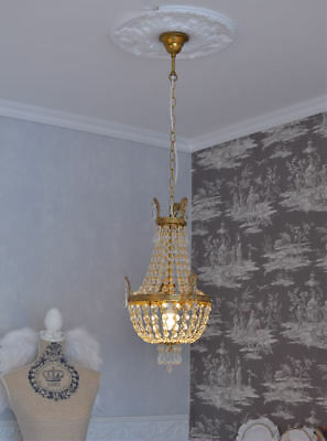 French Crystal Chandelier Basket Vintage Bronze Brass Gold