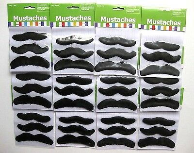 36 Stick On Black Furry Moustaches Mustaches Disguise Costume Gag Prop Fake New