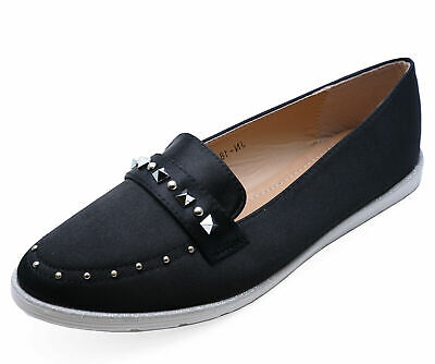 Ladies Black Slip-On Stud Loafers Smart Casual Flat Comfy Pumps Shoes Sizes 3-8