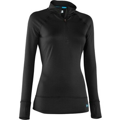 Under Armour UA Coldgear Base 2.0 Womens 1/4 Zip Top - Lrg - Blk/Cortez - NEW