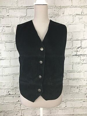 Womens RIVER ISLAND Black Genuine Leather Suede Front Waistcoat Size M