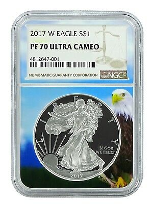 2017 W 1oz Silver Eagle Proof NGC PF70 Ultra Cameo - Eagle Core - Brown Label