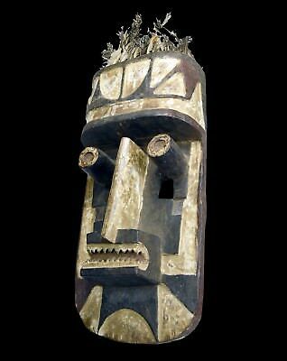 Bold Grebo African mask with Feather Headdress, African Art