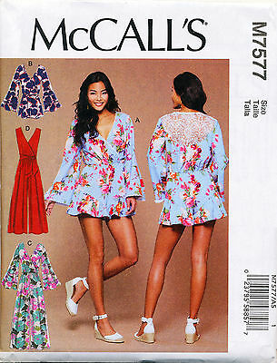 MCCALL\'S SEWING PATTERN 7099 Misses 14-22 Mock Wrap Long & Short ...