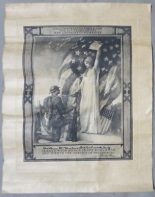 Vintage WW1 HONOR DOCUMENT US ARMY SOLDIER DEATH 128th INFANTRY REGIMENT