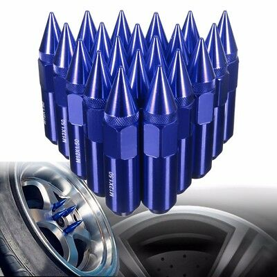Blue 20X M12X1.5 Cap Spiked Extended Tuner 60mm Aluminum Wheels Rims Lug Nuts US