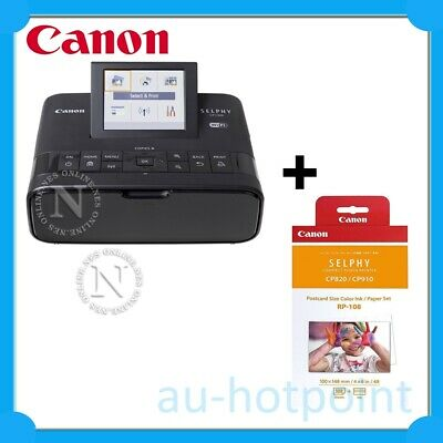 Canon SELPHY CP1300-BK Wireless Compact Photo Printer+RP-108 Ink Bundle Pack