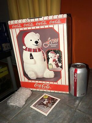Unopened In Box 1996 COCA COLA Polar Bear COOKIE JAR with FREE ORNAMENT Inside