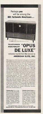 1956 American Elite NYC Opus Deluxe Radio Phonograph Telefunken West Germany Ad