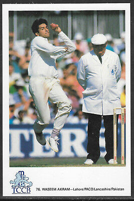 WASEEM AKRAM PAKISTAN OFFICIAL TCCB CRICKET POSTCARD Card No.76