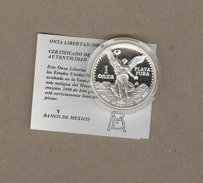 1990 Mexico Proof One Ounce Silver Libertad Coin