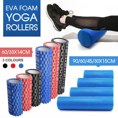 Physio EVA Foam Yoga Roller Gym Back Training Exercise Home Massage 45/60/90CM