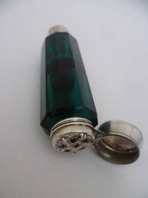 Double Ended Scent/vinaigrette Bottle Solid Silver Lid C1880 Emerald Green Glass