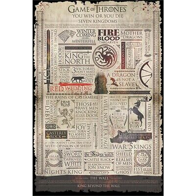 """Pyramid International """"infographic Game Of Thrones"""" Maxi Poster, Multi-colour,"""