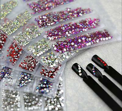 1680 Flat Back Nail Art Rhinestones Glitter Diamond Gems 3D Tips DIY Decoration
