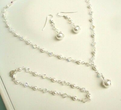 Designer Pearl And Clear Crystal Jewellery Set Bridal Necklace Bracelet Earrings