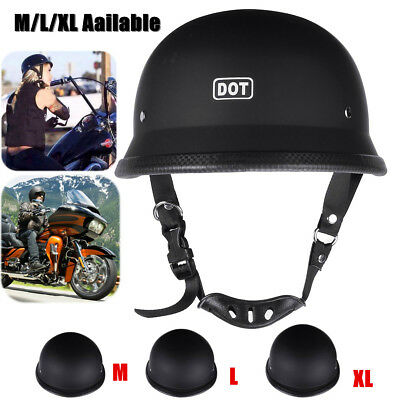 M/L/XL DOT Motorcycle German Style Half Face Helmet Motocross Bike Matte Black