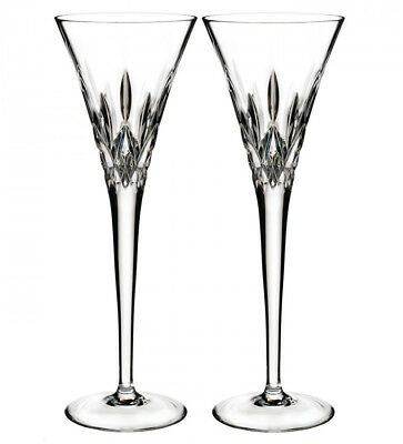 Waterford Lismore Pops Toasting Flutes Set of 2 Clear Crystal 40023071 New