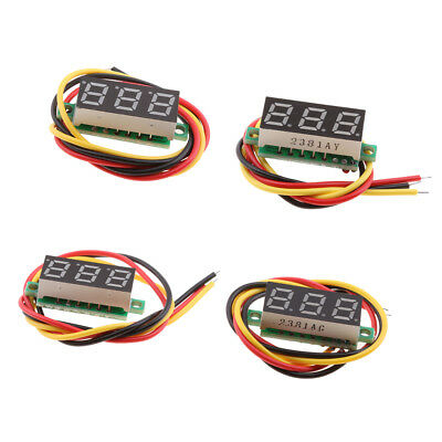 "4Pcs 3 Wire Digital-Panel-Meter Voltmeter DC 0-100V with 0.28"" LED Display"