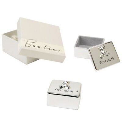Widdop Bambino Silver Plated First Tooth Box with Teddy Icon CG862 NEW
