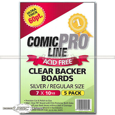"5 - Comic Pro Line Silver / Regular 60pt Clear PET Backer Boards - 7"" x 10-1/2"""