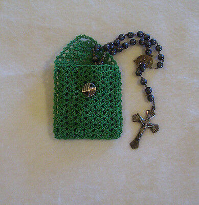 Hand Crochet Green Cotton Rosary Jewelry Pouch
