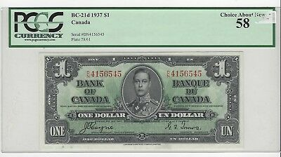 *1937*Bank of Canada BC-21d, $1 Coy/Tow SN D/N 4156545  PCGS AU-58