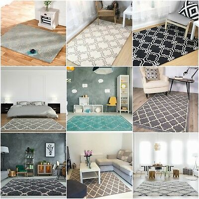 Classic Moroccan Trellis Area Rugs Soft Non Shed Fishnet Living Room Floor Rug