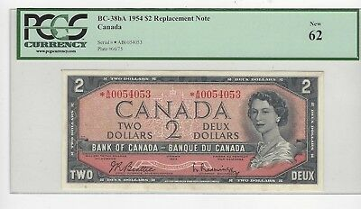 *1954*Bank of Canada BC-38bA, $2 Bea/Ras SN *0054053 PCGS MS-62 Repl. Note