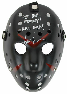 Ari Lehman Friday The 13th Get Her Mommy! Kill Her! Signed Black Jason Mask BAS