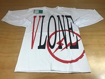 061eceee7 Vlone X Fragment Design Logo Long Sleeve Graphic Tee Shirt White Black Red  S New