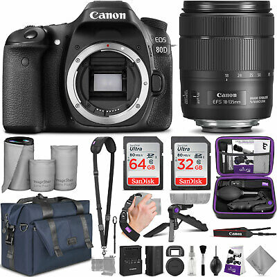 Canon EOS 80D DSLR Camera with EF-S 18-135mm f/3.5-5.6 is USM Lens w/Bundle