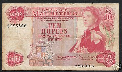 Mauritius Africa 10 Rupees P31B 1967 Bird Flag Queen Scarce Sign Currency Note