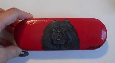 Black Chow chow Dog Hand Painted Eyeglass case