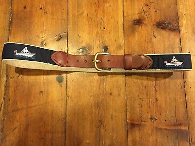 LEATHER MAN LTD Boys Ship Boat Blue Belt Leather Brass Buckle- Size 30