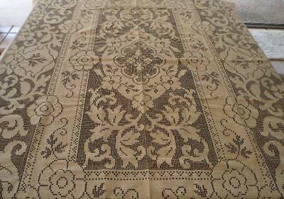 Vintage Embroidered Lace Tablecloth Scrolls & Flowers Unused Ecru Cotton 69""