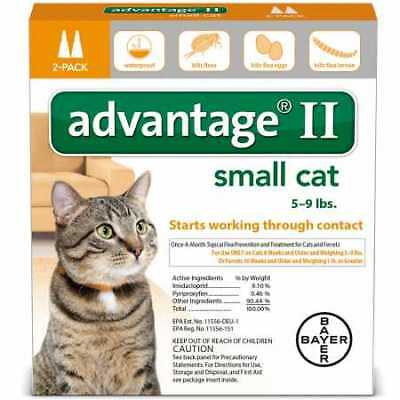 2 MONTH Advantage II Flea Control Small Cat for Cats 59 lbs.