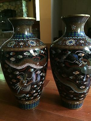 "12"" Large Pair Antique Japanese Chinese Cloisonné Vases Meiji Period dragon"
