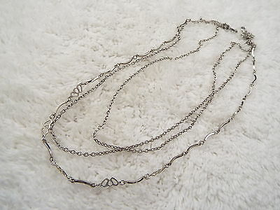 Silvertone Three Chain Necklace (C30)