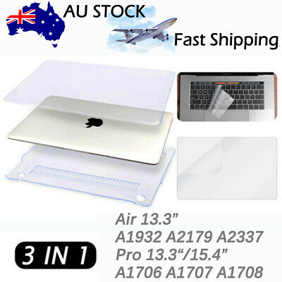 """Glossy Clear Hard Shell Case+ KB Cover+ LCD for MacBook Pro 13"""" 15"""" A1706/ A1708"""