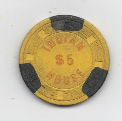 Old 5 Dollar Yellow Poker Chip from the Indian House Casino