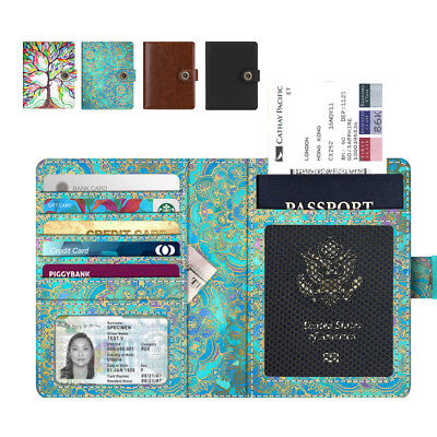 Premium Vegan Leather Travel Passport Holder Case RFID Blocking Cover Cards Bag