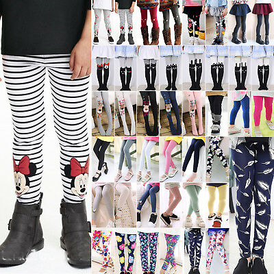 Girls Skinny Tights Stockings Pantyhose Socks Kids Floral Cartoon Trouser Pants