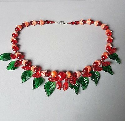 Vintage Inspired Glass Bead Flower Fruit Leaf Necklace - Red Green Coral